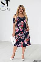 Женственное платье в цветочек с вырезами на плечах с 50 по 60 размер, фото 6
