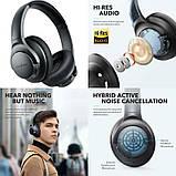 Гибридные наушники Anker Soundcore Life Q20 с активным шумоподавлением беспроводные накладные Bluetooth, фото 6