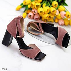 Элегантные замшевые кофейные женские босоножки натуральная замша на устойчивом каблуке