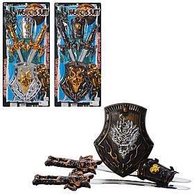 Набор рыцаря 222-6-6A-7  меч 2шт, 49см, щит, доспехи, 3вида, на листе, 29-63-3см