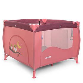 Манеж ME 1030 ARENA Rose Len квадратний дитячий,вхід-змійка,кишеня,кольцо2шт, льон, роз