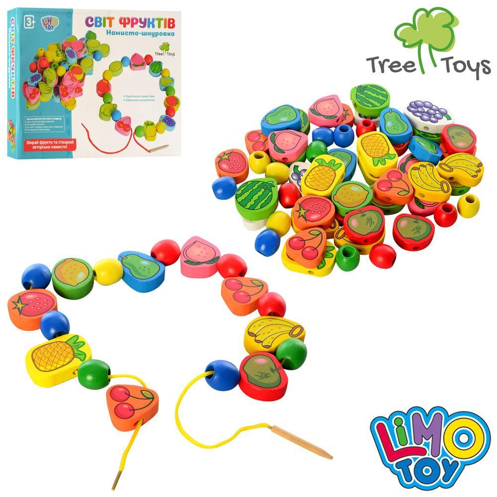Дерев'яна іграшка-Шнурівка MD 1009 фрукти, овочі, ягоди, в кор-ке, 28-21-3,5 см