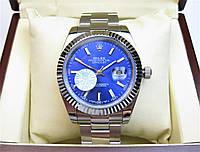 Часы Rolex DateJust 40mm Oyster Bracelet Silver/Blue(ETA 2834). Replica: AAA., фото 1