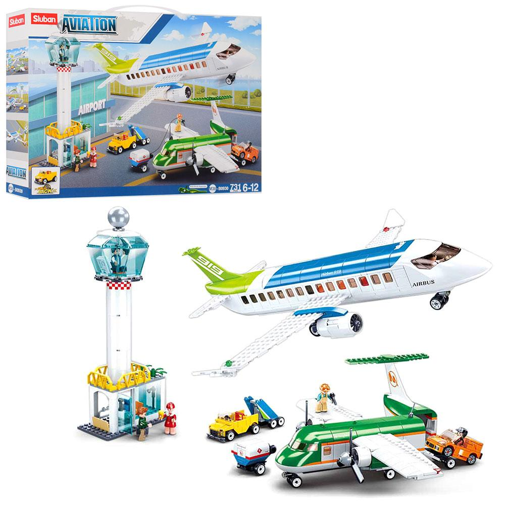 Конструктор SLUBAN M38-B0930 (6шт) аэропорт,самолет,транспорт, фигурки, 731дет, в кор-ке,57-38-9,5см