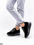 Женские кроссовки черные из натуральной замши, фото 6