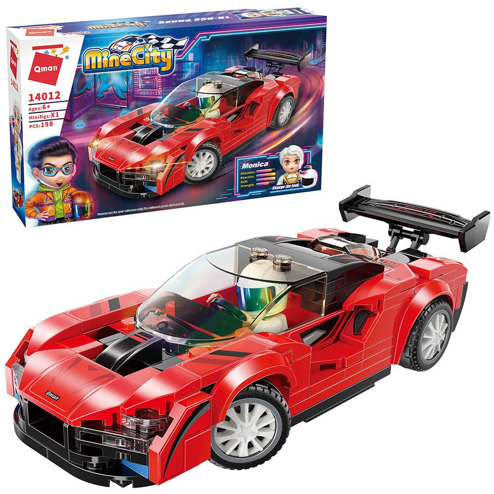 Конструктор спортивна машина червона з фігурками для хлопчиків 198 деталей Qman 14012 (48шт)