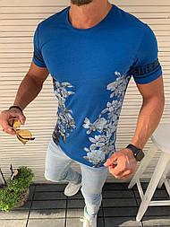 😜 Футболка - Мужская футболка голубая / футболка чоловіча голуба з квітами