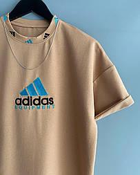 😜 Футболка - Мужская футболка Adidas Old School бежевая / футболка чоловіча Adidas Old School бежева