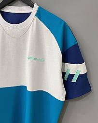 😜 Футболка - Мужская футболка Adidas Old School голубая / футболка чоловіча Adidas Old School голуба