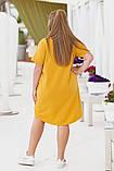 Платье- туника  летнее большого размера Размеры: 50-52; 54-56. Цвета: горчица, джинс, фото 3