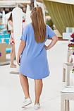 Платье- туника  летнее большого размера Размеры: 50-52; 54-56. Цвета: горчица, джинс, фото 4