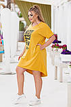 Платье- туника  летнее большого размера Размеры: 50-52; 54-56. Цвета: горчица, джинс, фото 7
