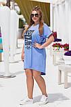 Платье- туника  летнее большого размера Размеры: 50-52; 54-56. Цвета: горчица, джинс, фото 5