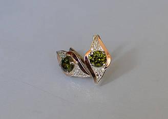 Серебряные серьги Sil с золотыми вставками 145s-14 Олива Sil-1026 ES, КОД: 976753