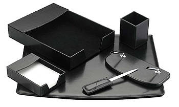 Настольный набор кожзам Optima Cabinet 6 предметов, черный O36482