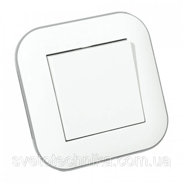 Вимикач 1-клавішний LOFT білий+сірий