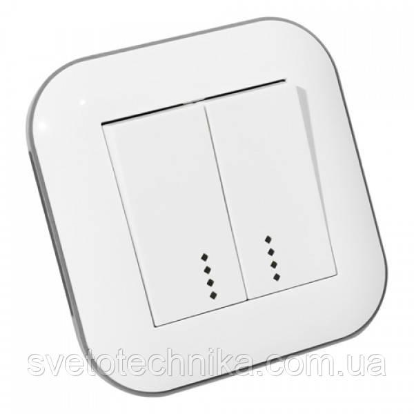 Выключатель 2-клавишный с подсветкой LOFT белый+серый