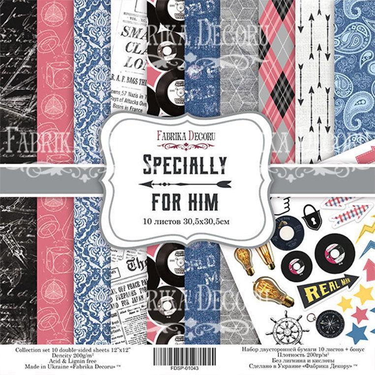 Набір паперу для скрапбукінгу Фабрика Декору 30,5*30,5 см Specially for him 10л + бонус 200г/м2 FDSP-01043