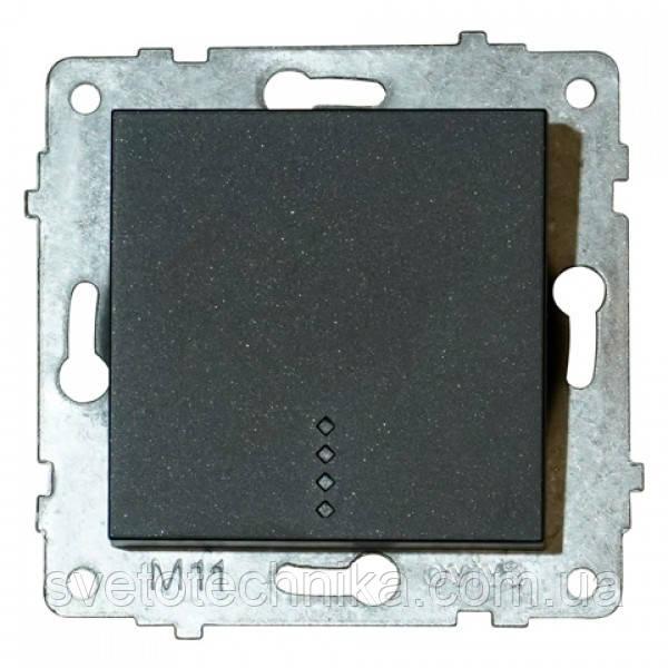 Механизм выключателя 1-клв. с подсветкой GRANO черный