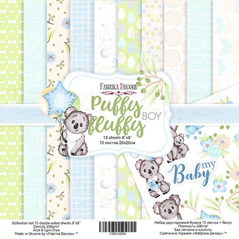 Набор бумаги для скрапбукинга Фабрика Декора 20*20см Puffy Fluffy Boy 10л + бонус 200г/м2 FDSP-02059