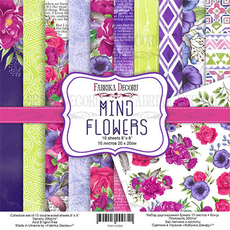 Набор бумаги для скрапбукинга Фабрика Декора 20*20см Mind Flowers 10л + бонус 200г/м2 FDSP-02065