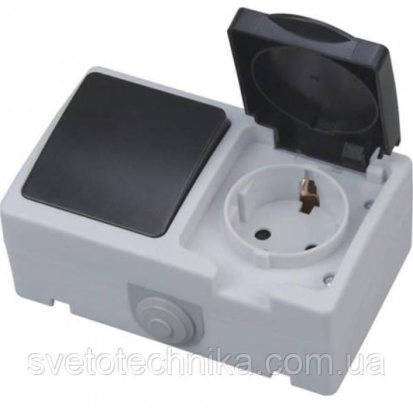 Розетка з заземленням з кришкою + вимикач ATOM