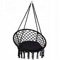 Подвесное кресло-качели (плетеное) с подушкой Springos SPR0028 Black, фото 1