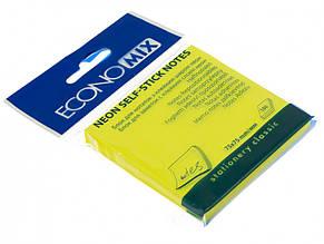 Блок для заміток з липким шаром 76х76мм Economix неоновий жовтий 100 аркушів (12) Е20944-05