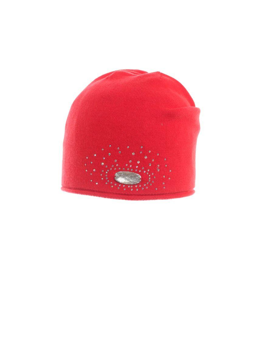Красивая детская шапка с декоративным элементом.