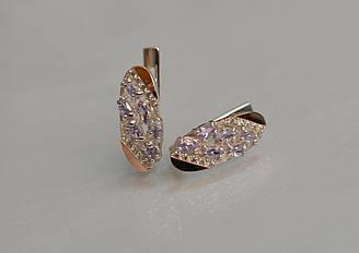 Серебряные серьги Sil с золотыми пластинами 116s-6 Фиолет Sil-1256 ES, КОД: 976583