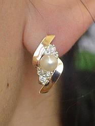 Серебряные серьги Sil с жемчугом 106s Фианит Sil-914 ES, КОД: 976771