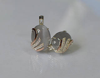 Серьги из серебра Sil с золотом 149s-8 Серый Sil-1107 ES, КОД: 976951