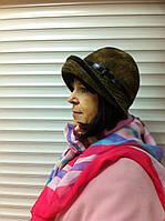 женская текстильная шляпка из драпа с отделкой цвет оливковый