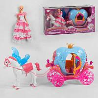Карета с куклой 911 A (6) лошадь ходит, издает реалистичные звуки, воспроизводит песенку, карета с подсветкой,