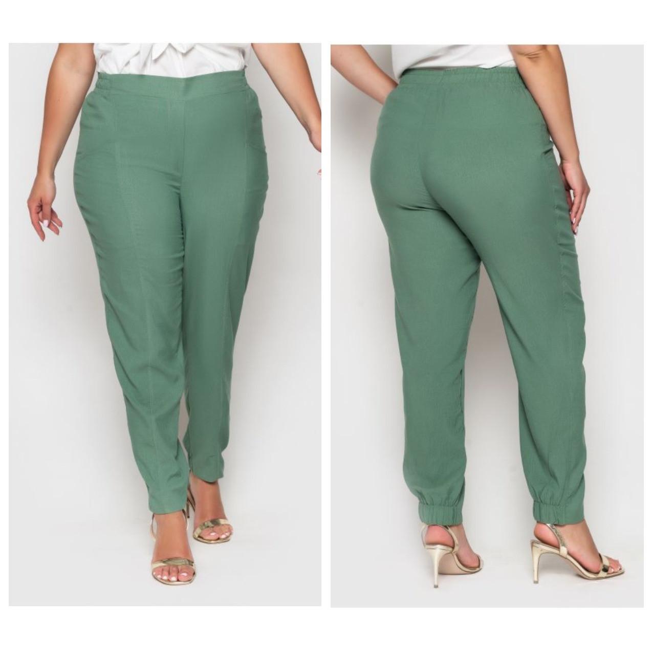 Легкі літні брюки високої посадки великого розміру
