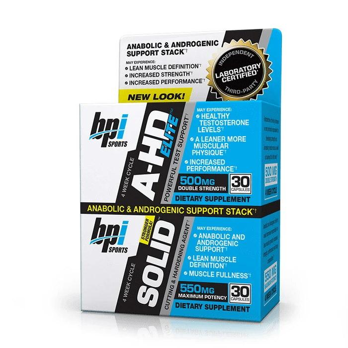Стимулятор тестостерона BPI Sports A-HD Elite + Solid, 2x30 капсул
