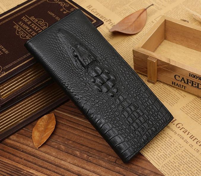 Клатч чоловічий шкіряний гаманець крокодил чорний, чоловіче портмоне натуральна шкіра з крокодилом рептилія