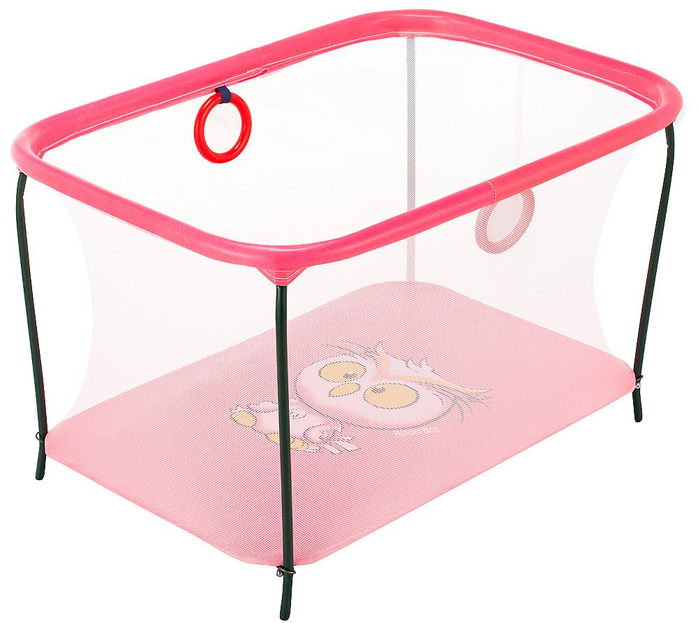 Манеж Qvatro LUX-02 мелкая сетка  розовый (owl)
