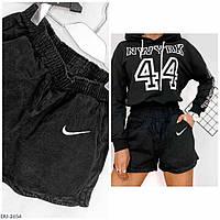 Джинсові спортивні короткі шорти на резинці, з кишенями літні р-ри 42-46 арт. 2653/2656