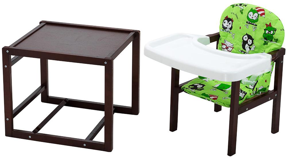 Стільчик - трансформер Babyroom Поні-220 тонований пластикова стільниця зелений (сови)