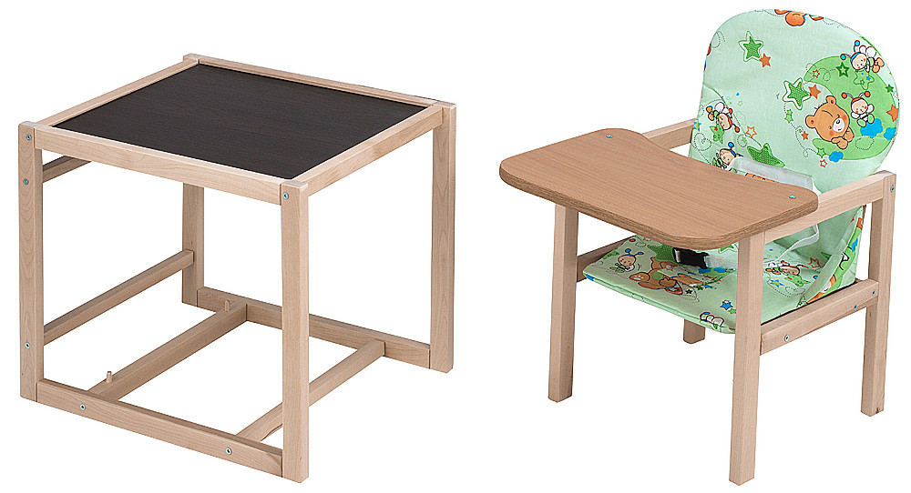 Стільчик - трансформер Babyroom Карапуз-100 eko МДФ стільниця зелений (ведмедики і бджілки)