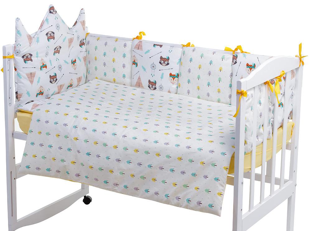 Дитяча постіль Babyroom Classic Bortiki-01 (6 елементів) жовтий-білий (лисиця, єнот)