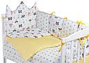 Дитяча постіль Babyroom Classic Bortiki-01 (6 елементів) жовтий-білий (лисиця, єнот), фото 2