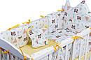 Дитяча постіль Babyroom Classic Bortiki-01 (6 елементів) жовтий-білий (лисиця, єнот), фото 4