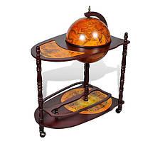 Глобус бар напольный со столиком 330 мм. коричневый 480040