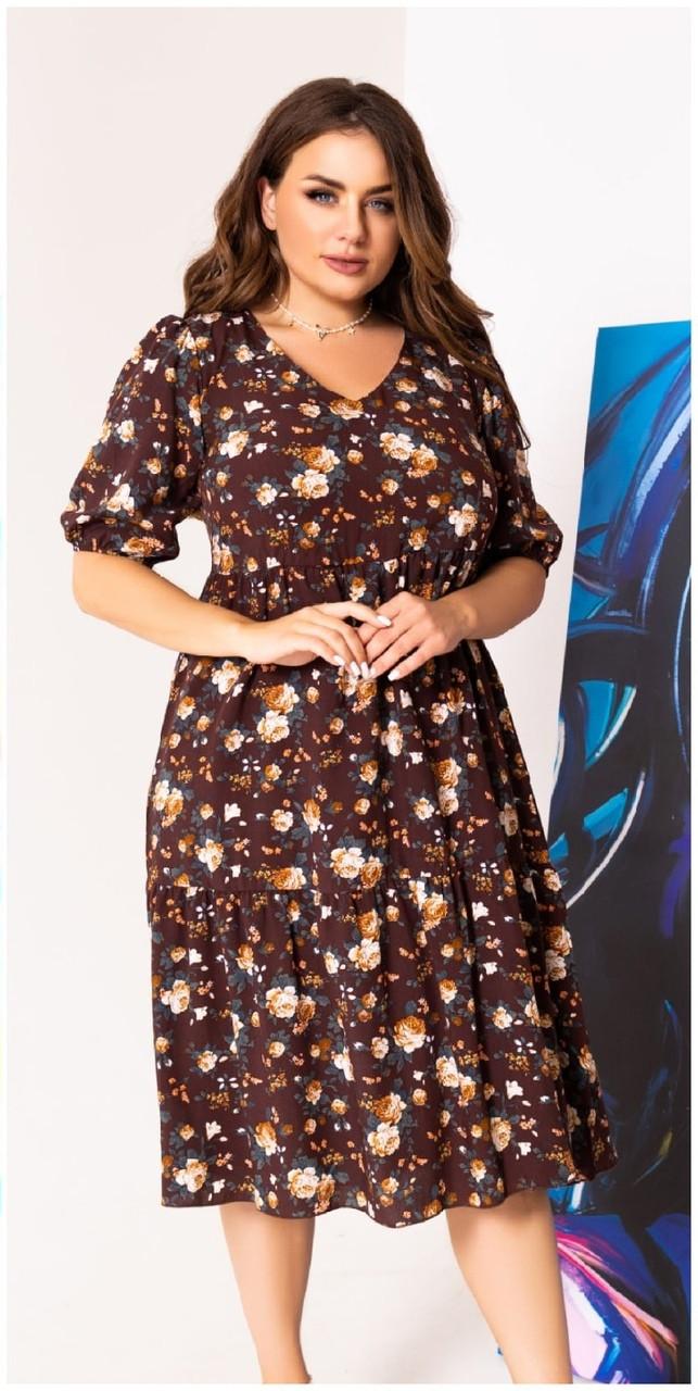Платье летнее батал NOBILITAS 48 - 58 коричневое штапель (арт. 21025)