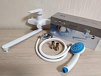 Смеситель для ванны и умывальника из термопластика с длинным изливом (гусаком) Brinex 35W005-006