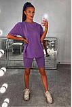 Жіночий повсякденний костюм літній Футболка та бриджі Італійський трикотаж Розмір 42-46 Різні кольори, фото 5
