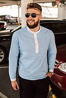Голубая льняная рубашка мужская с длинным рукавом и воротником стойка  100% лён, фото 1