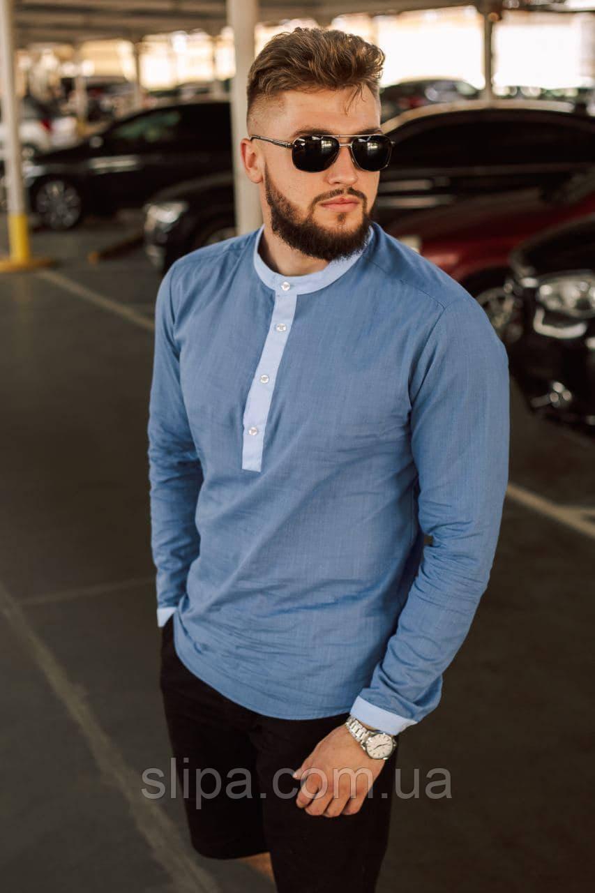 Синяя льняная рубашка мужская с длинным рукавом и воротником стойка |100% лён